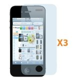 Fosmon Transparent Clear Screen Protector for iPhone 4 4G HD with Lint Cleaning Cloth - 3 Pack